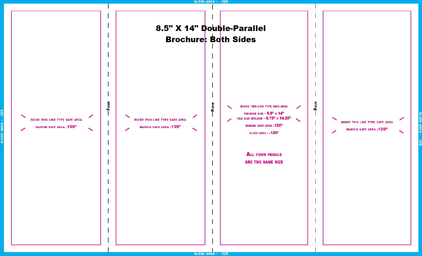 11 in and 14 in templates for Double parallel fold brochure template